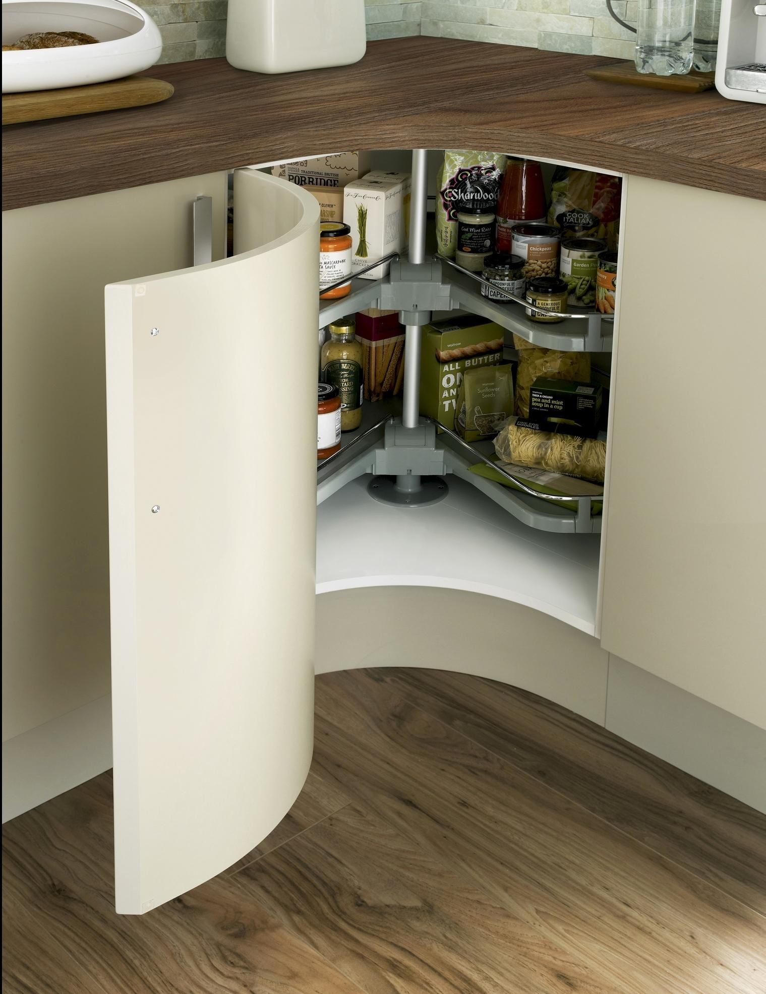 Concave Curved Corner Base Unit With Premium Corner Carousel And Alaska  White Honed Square Edged Worktop