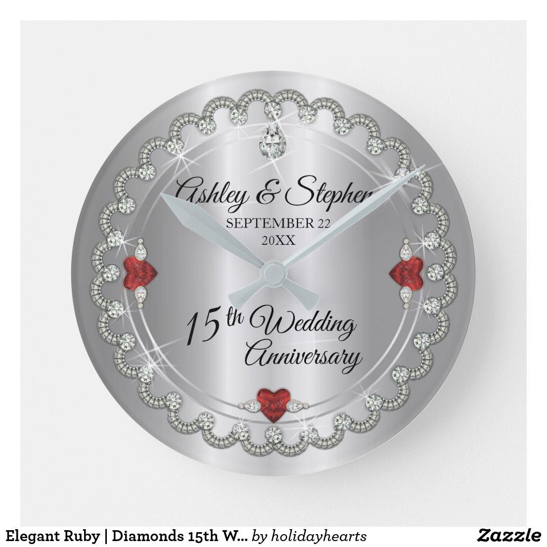 Elegant Ruby Diamonds 15th Wedding Anniversary Round