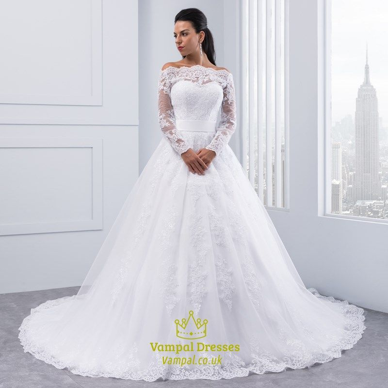 Illusion Off The Shoulder A Line Lace Wedding Dress With Long