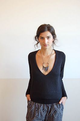 a detacher alpaca sweater, coven pants, all for the mountain necklace.
