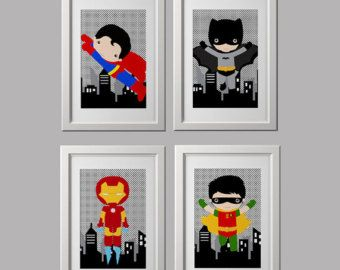 Super hero wall art prints, superhero prints, set of 4, character choice, shipped to your door 8x10 inch each