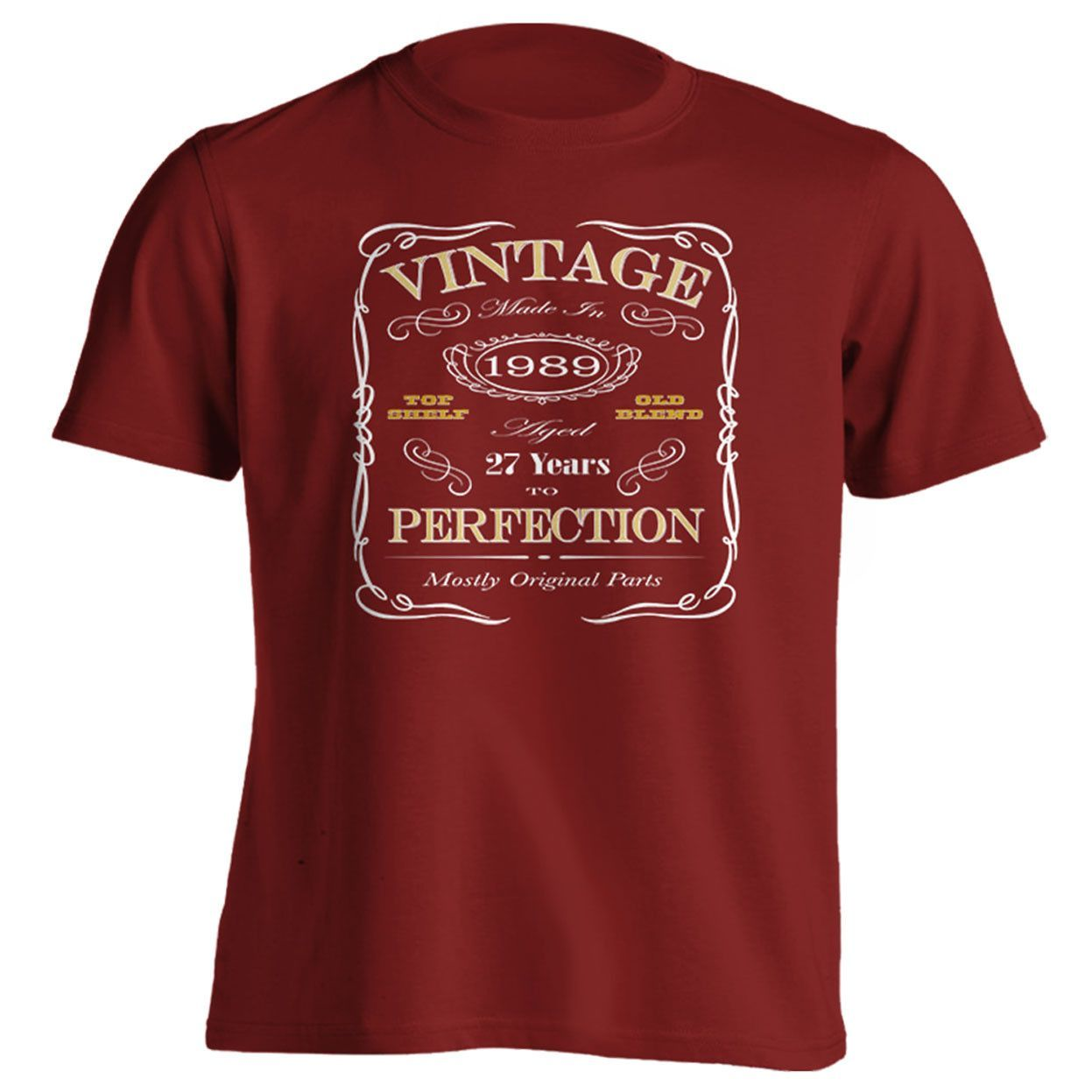 27th Birthday Gift T-Shirt - Born In 1989 - Vintage Aged 27 Years To Perfection Short Sleeve Mens T Shirt