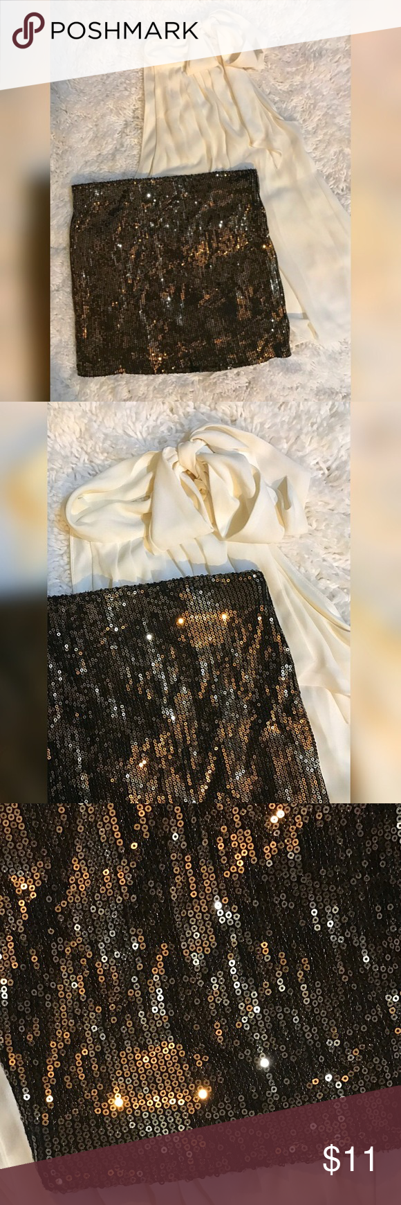 Sequin mini skirt, size S. No flaws. Gold sequin mini skirt, size Small. No missing sequins, no stains or tears, great condition. Fabric is spandex material, very stretchy. Skirts Mini