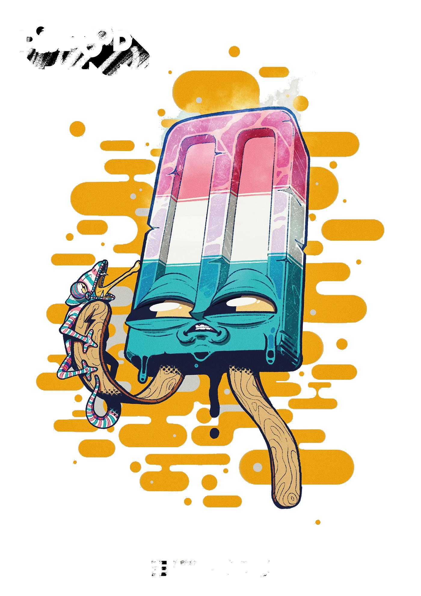 Monster Ice Cream Graffiti Art Art Mini Art