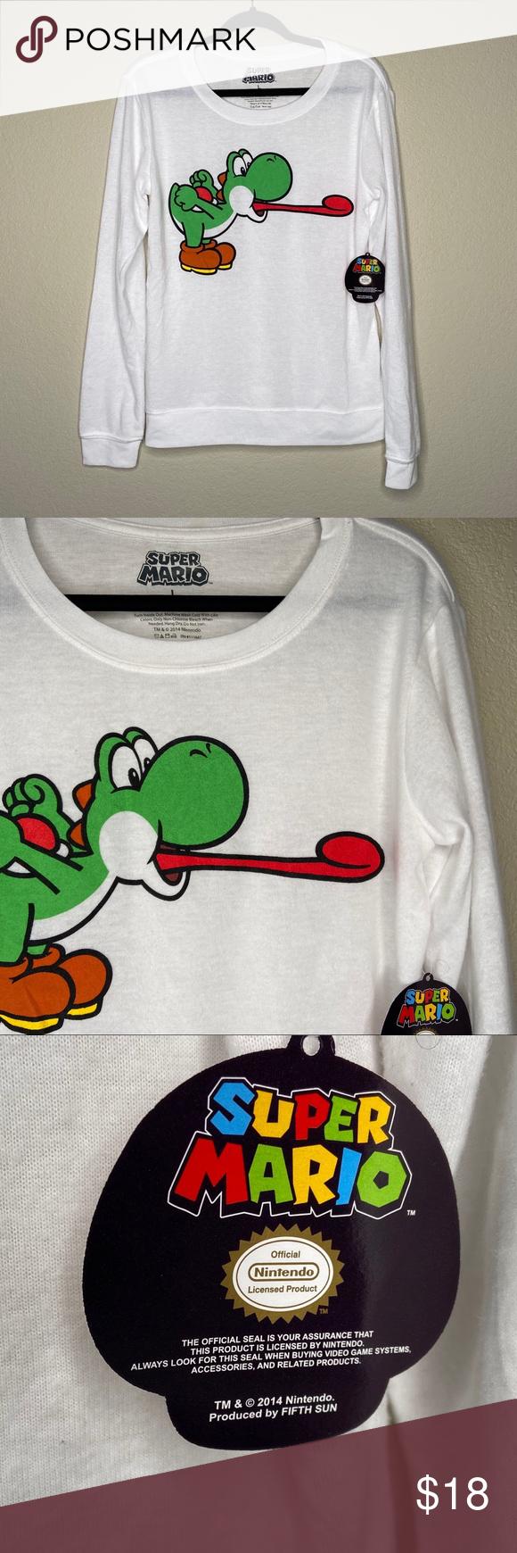 Super Mario Yoshi Graphic Sweatshirt Super Mario Yoshi Men S Graphic Sweatshirt Size Large White Long Sleeve Yoshi G Super Mario Shirt Sweatshirts Mario Shirt [ 1740 x 580 Pixel ]