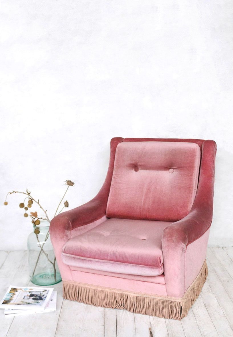 Velvet Armchair Pink Desk Chair Fabric Super Marche My Vintage Online Shop With Fringe At
