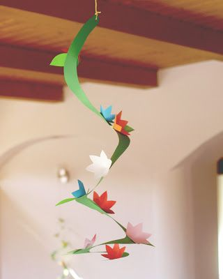 we could have bits of spiraled paper hanging down to look like parts of a tree?