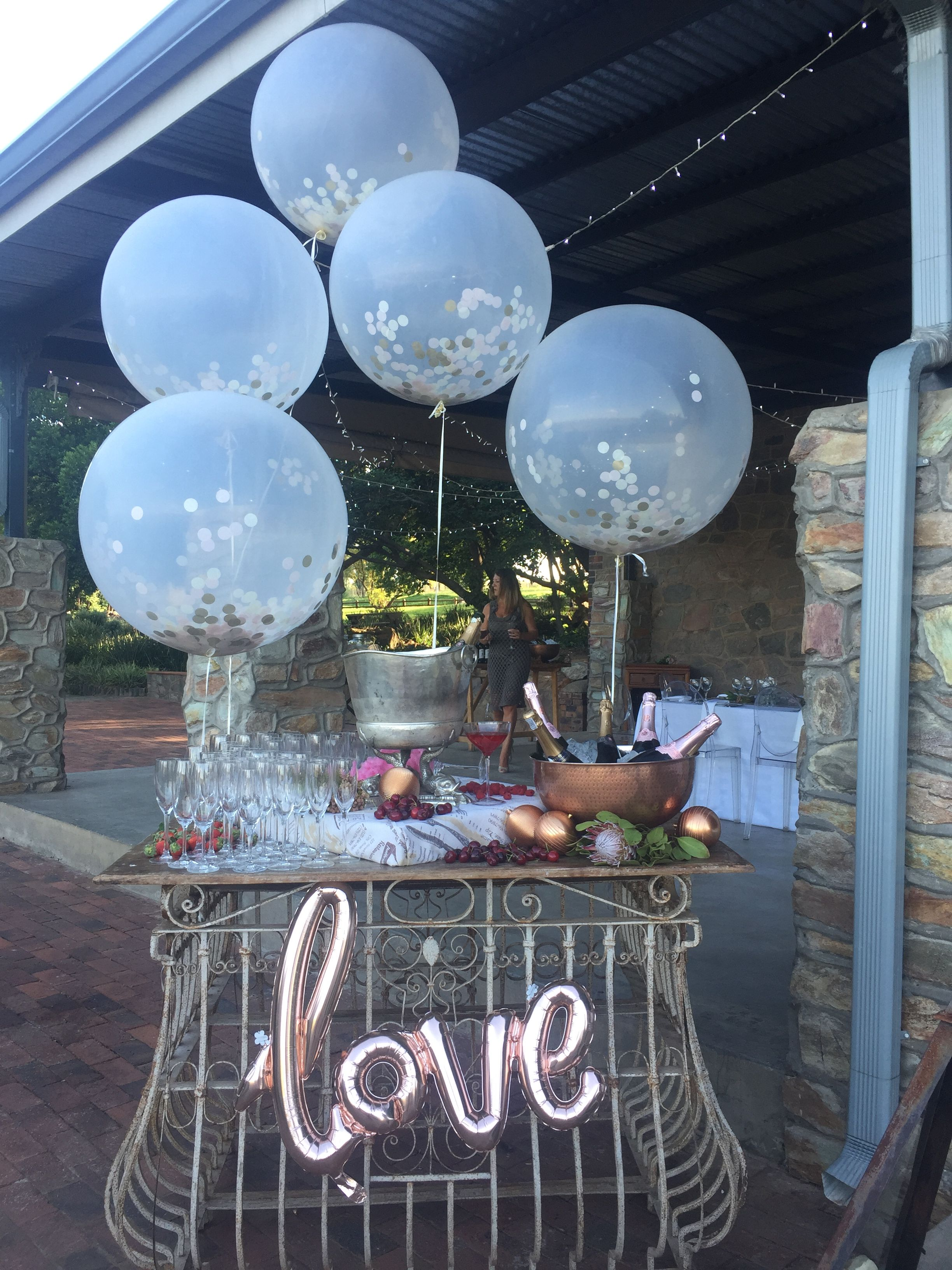 Rose Gold Bubbly Bar With Giant Confetti Balloons
