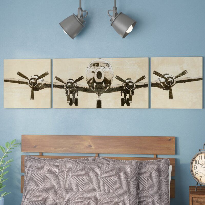 Flight Time 3 Piece Wrapped Canvas Graphic Art Set On Canvas In 2020 Toddler Wall Art Art Wall Kids Industrial Wall Art