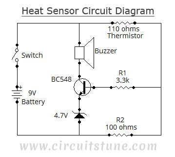Circuit diagram of heat sensor: … | Projetos a experimentar ...