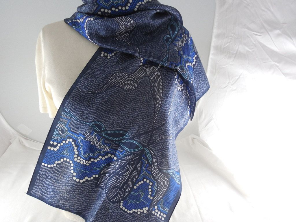 "Vintage Abstract Blue Polyester Oblong Scarf Made In Italy 12"" x 54"" by Dockb30Crafts on Etsy"