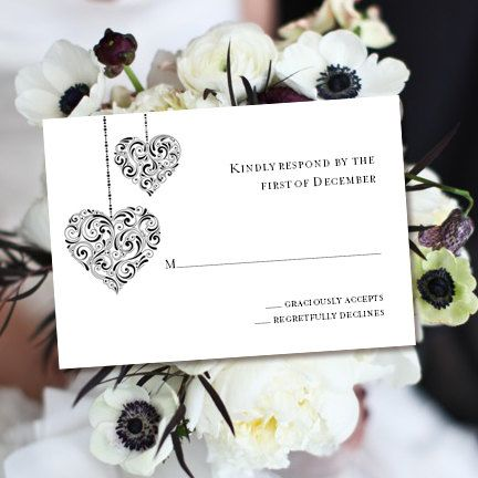 RSVP Card Printable Response Template Hearts Black White Worddoc W Editable Text ALL Colors Available DIY You Print