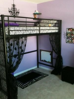 Home Nati S Room Girls Bedroom Loft Bed Curtains