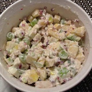 Fabulous fruit salad stirred up so yum!