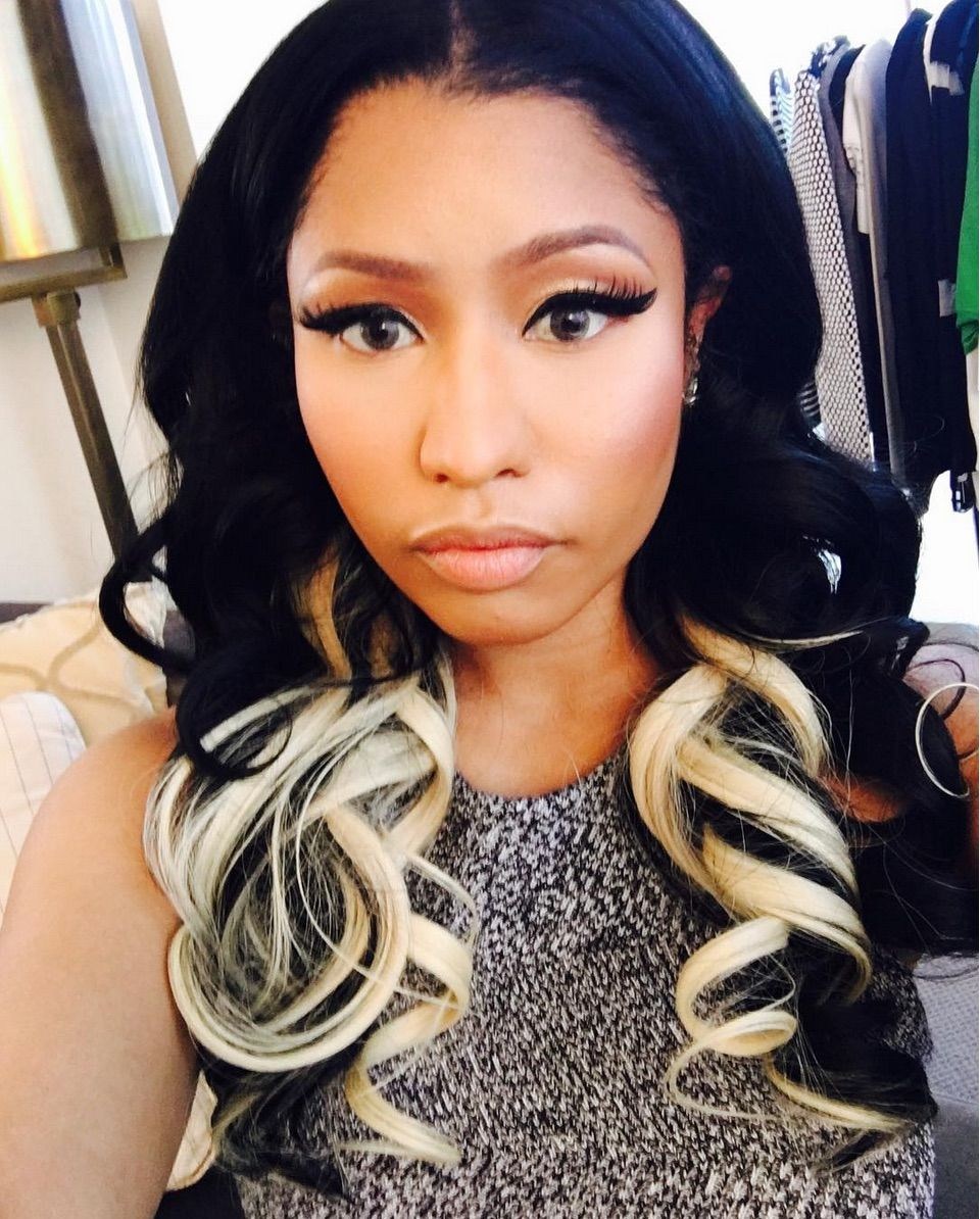 nicki minaj's two-toned curls will have you running to your