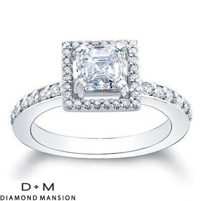 2.21ct Asscher-Cut Diamond Engagement Ring Halo G/VVS2-14k White Gold Asscher Cut Engagement Rings #asscher #asscherdiamonds #asschercut #asschercutengagementrings $5077