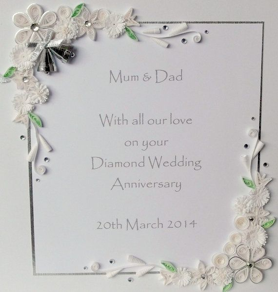 60th Diamond Wedding Anniversary Card Personalized Handmade Quilled Paper Quilling A