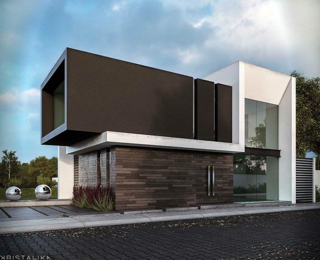 Pin de diego butr n en fachadas casas pinterest for Casa minimalista maqueta