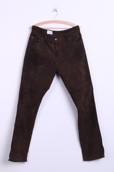 7e0a415b535b7 CANDA made for C&A Mens Trousers 54 Leather Brown Suede - RetrospectClothes
