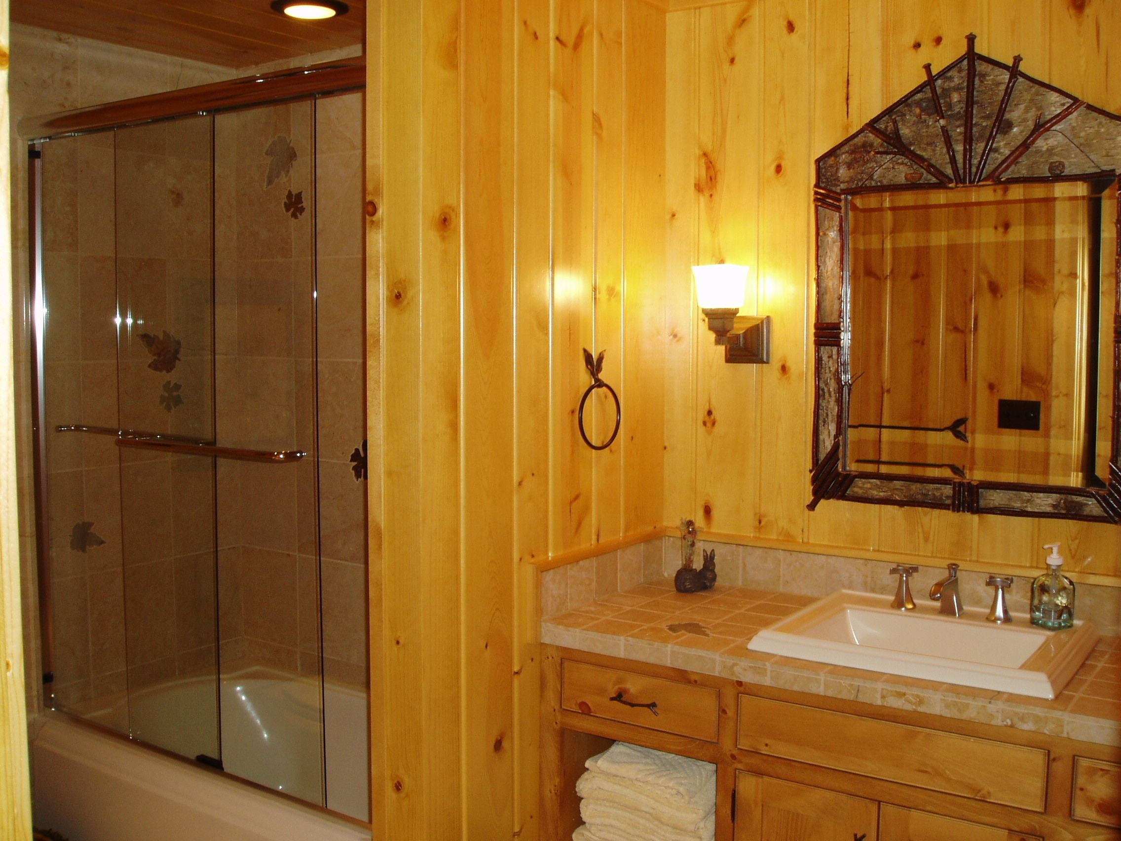 A Rustic Bathroom Works Great For The Guest Who Visit This Log