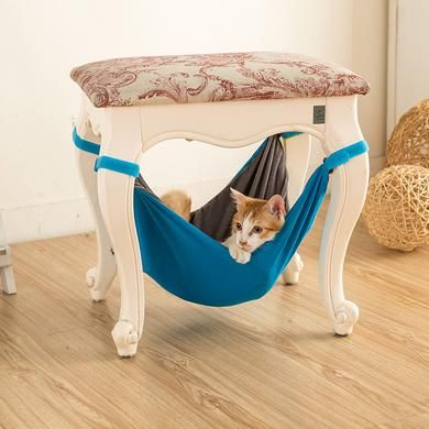 Pet Kitten Cat Hammock Bed Hanging Removable Velcro Hanging Soft Bed