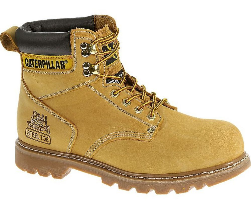 44fcfc825c34 New Mens Caterpillar 6 Second Shift Steel Toe Honey Work Boots Size 7-14  P89162