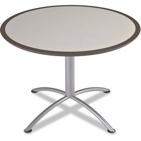 Iceberg iLand Table, Dura Edge, Round Seated Style, 42 inch Diameter x 29 inch, Gray/Silver