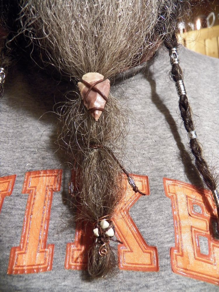 1909e0ff432 Beard Beads 1-2 Hair Braid Celtic tube Leather Wrap Viking biker boho Dwarf   Handmade  BeardBead