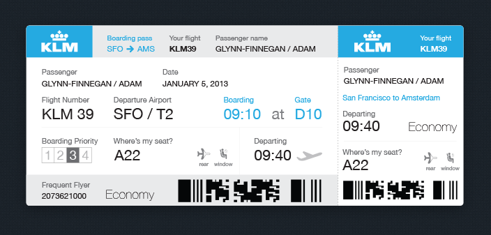 Boarding Pass Redesign Ui Ux Boarding Pass Template