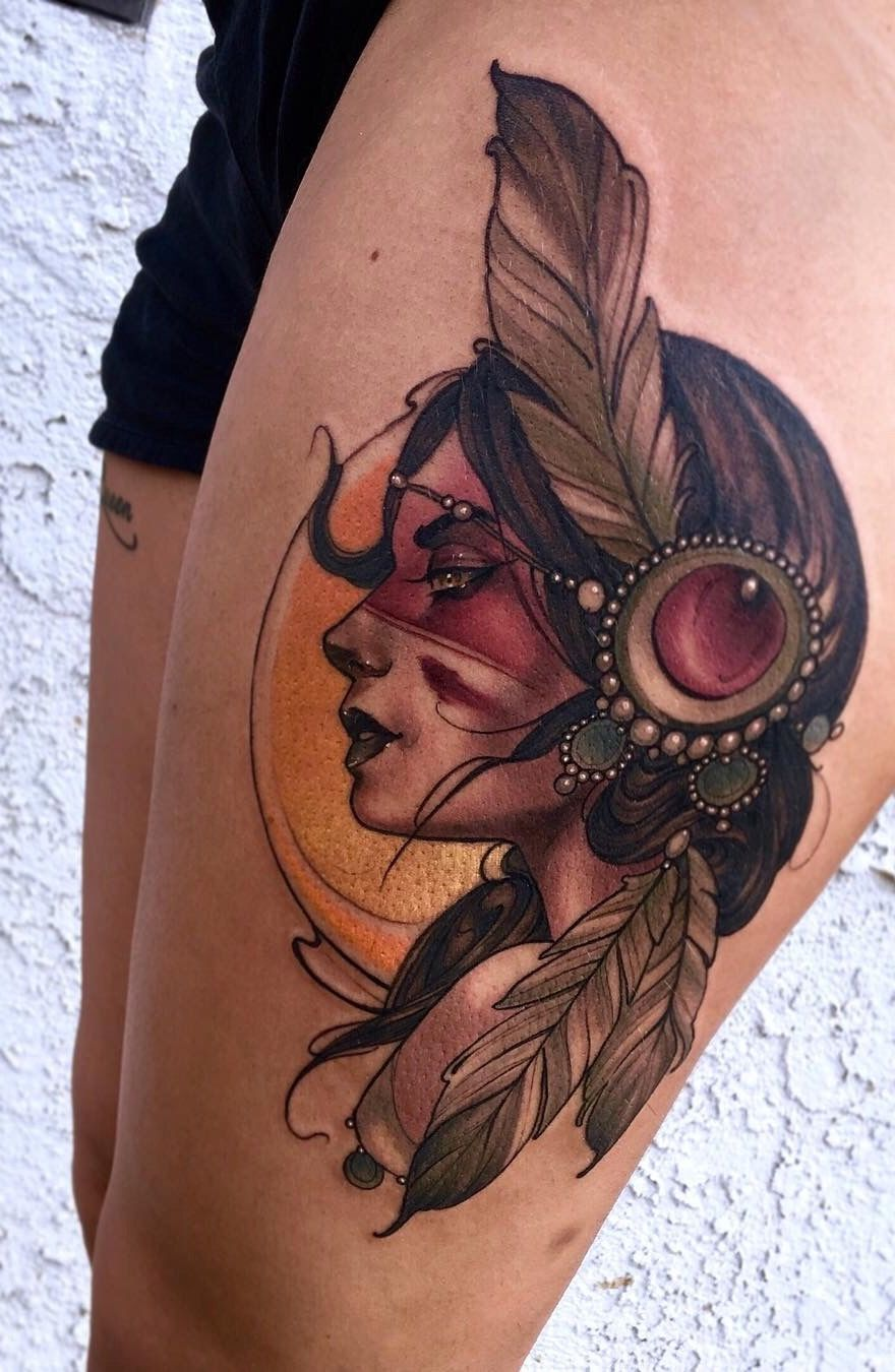 14+ Stunning Native american woman warrior tattoo ideas