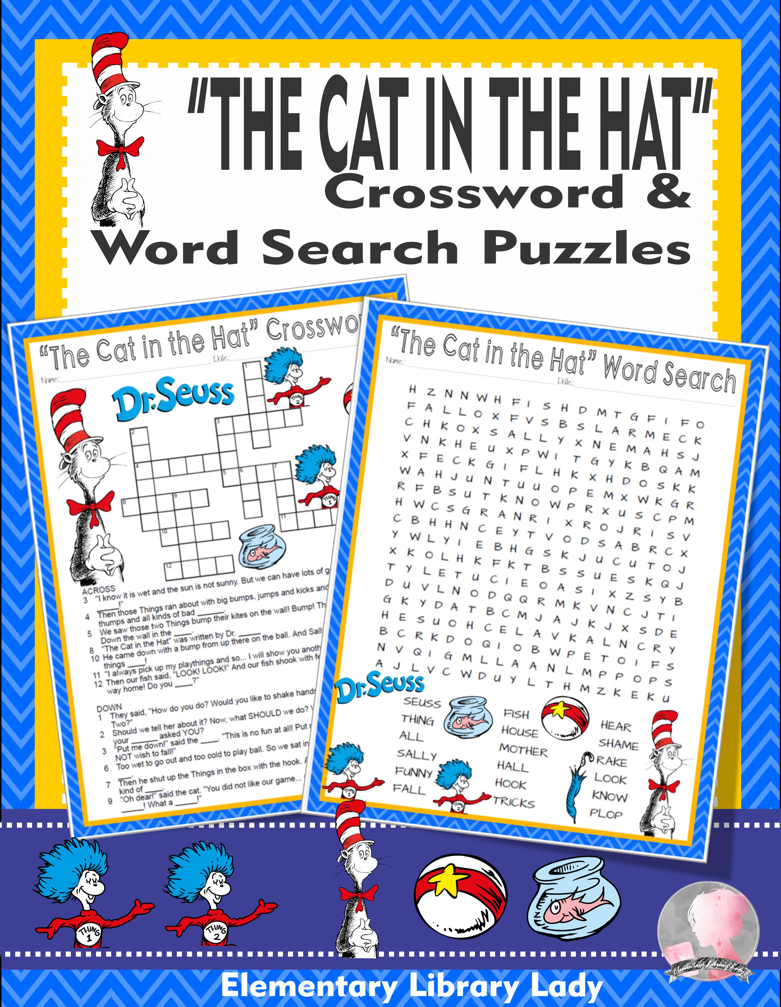 The Cat In The Hat Activities Dr Seuss Crossword Puzzle