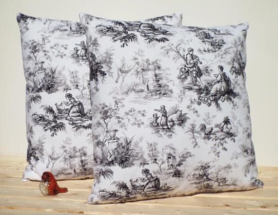 Two French Toile Shabby Chic Decorative Pillows Home Decor Custom French Pillows Home Decor