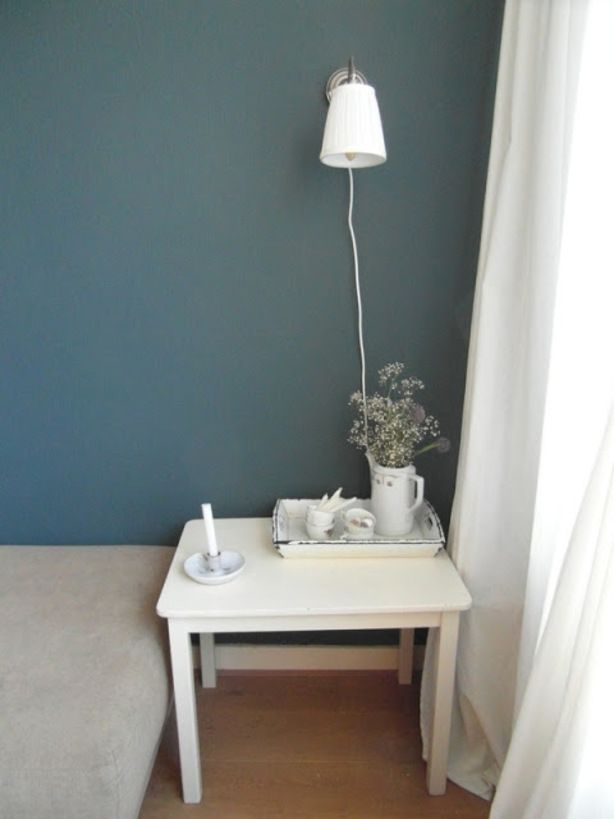 blauw grijs muur  Slaapkamer  Slaapkamer muur kleuren