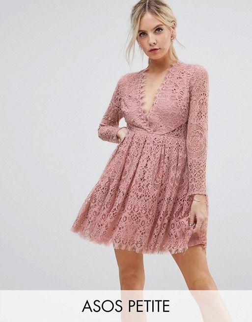 PETITE Long Sleeve Lace Mini Prom Dress