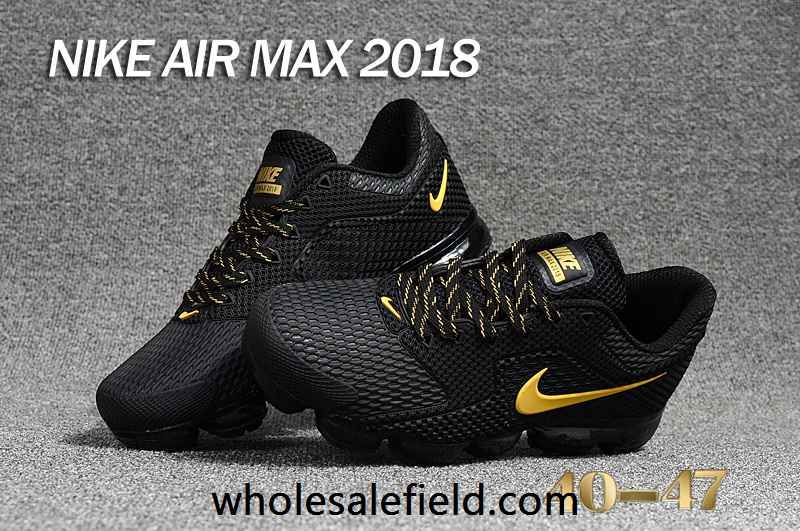 competitive price 57857 534c3 New Nike Air Max 2018 KPU Black Gold Men Shoes