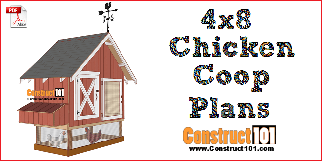 4x8 Chicken Coop Plans Free PDF Download Material List Construct101