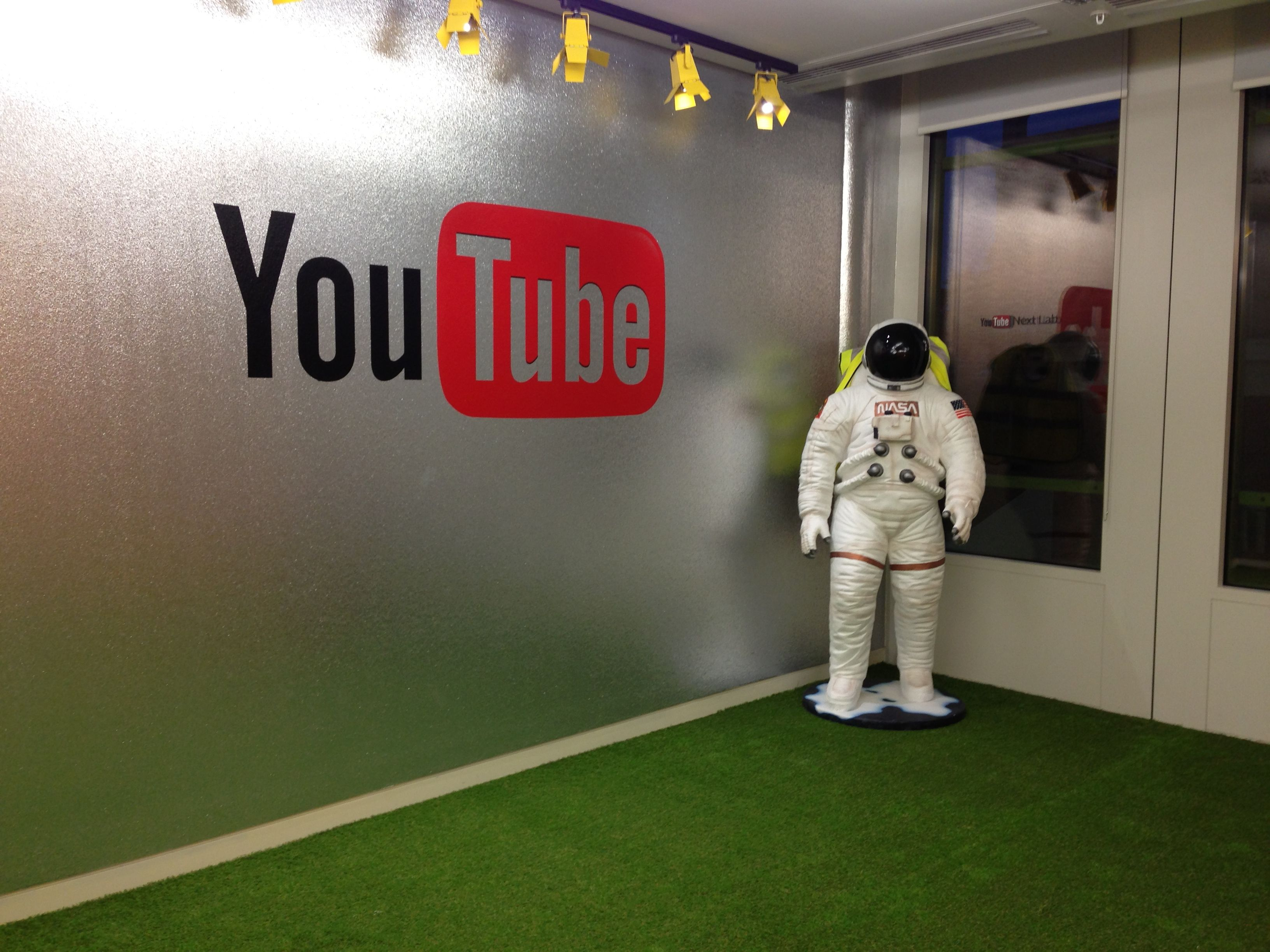 One small step for man, one giant leap for You Tube! - The YouTube offices kitted out with #LazyLawn #artificialgrass
