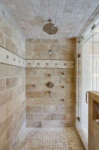 Interesting larger tile layout for a shower. Pair with a yellow-ish ...