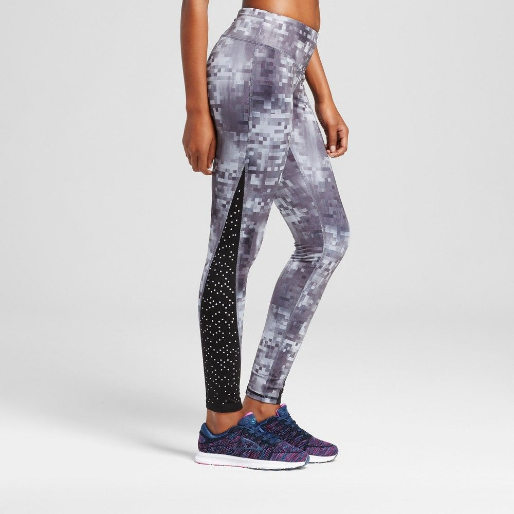 Women's Embrace Laser Cut Leggings Black/Grey Glitch Print XL - C9 Champion
