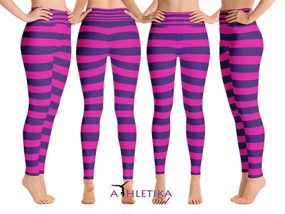 03b025fac6c44 #Disney #Cheshire #Cat Workout #Leggings Alice Wonderland #Purple Pink  Striped Cosplay Yoga Outfit Set #Costume Spandex High Waist #Halloween Party