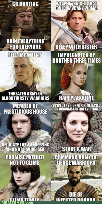Oh the irony of the Game of Throne characters