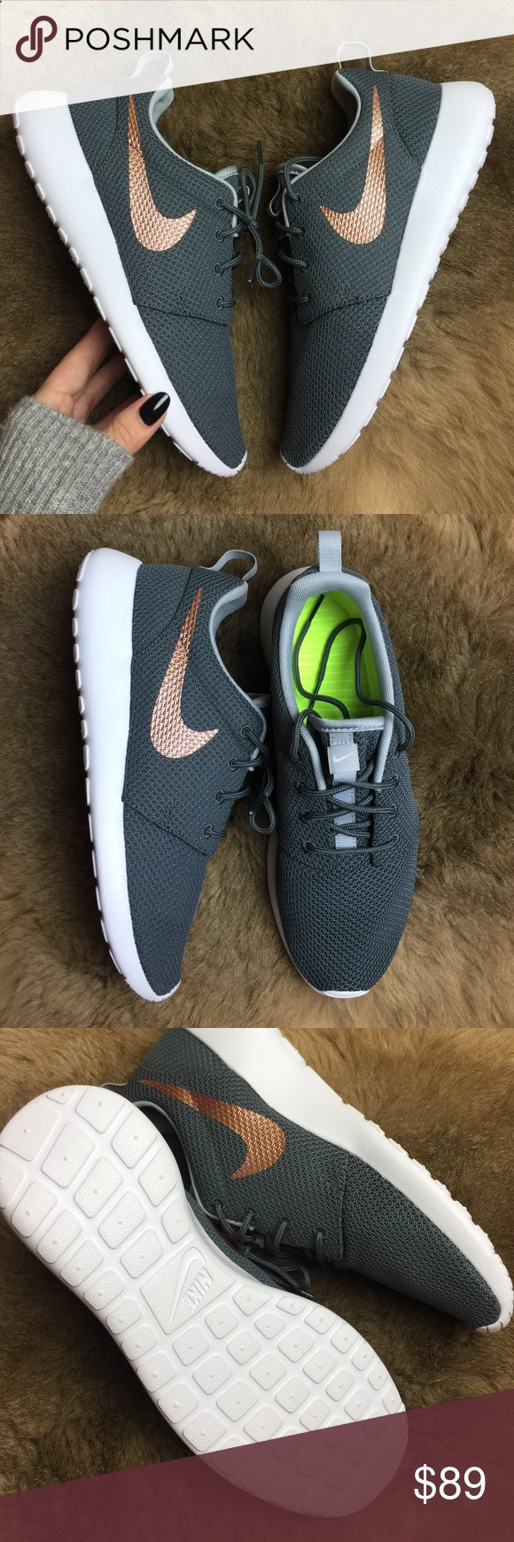 65178c99c243 NWT Nike ID custom rose gold swoosh Brand new no box Nike id roshe custom  grey wolf color with rose gold swoosh! No trades!price is firm!