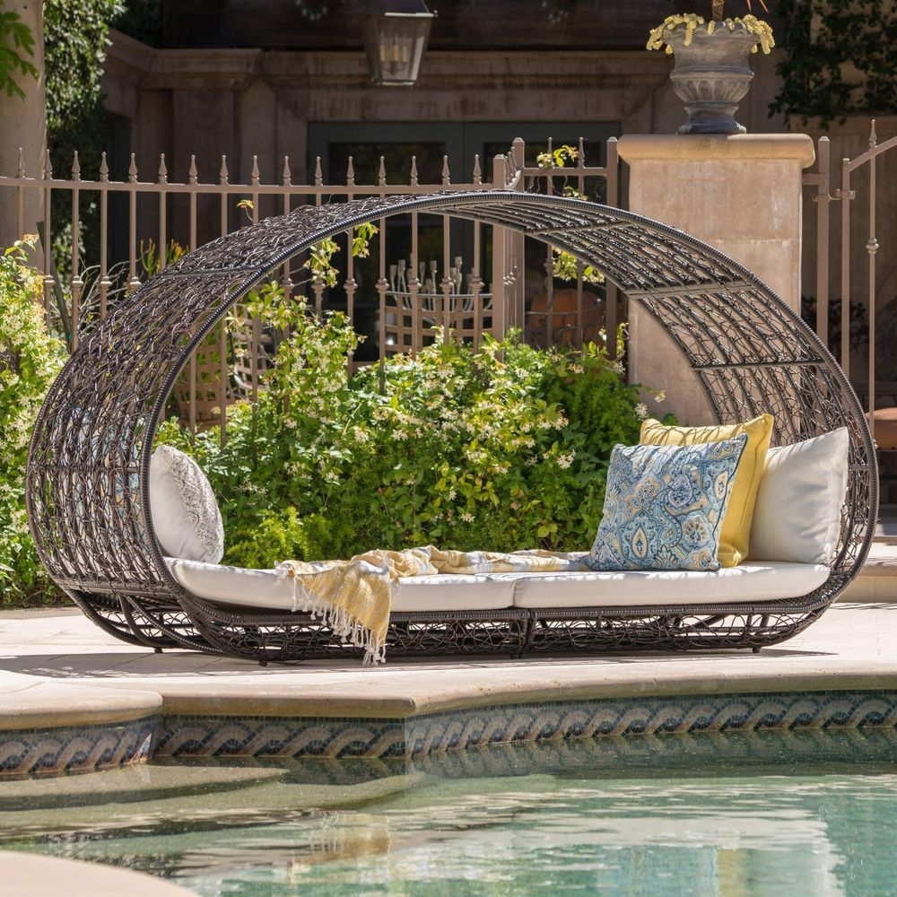 Outdoor Daybed With Cover Mattress Patio Pool Furniture