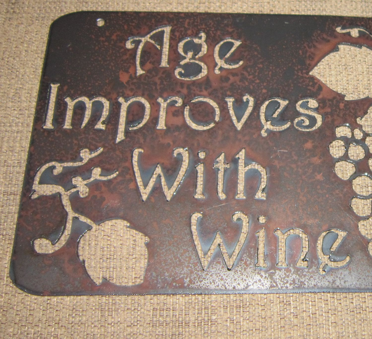 Age improves with winemetal wall artmetal wine signwinery sign