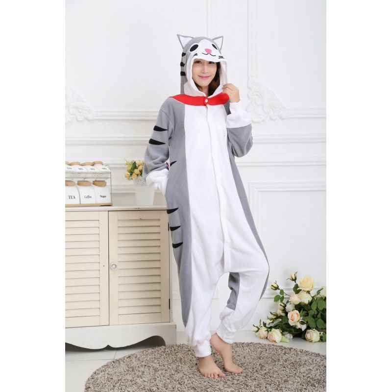 Women   Men Cheese Cat Kigurumi Onesies Pajamas Costumes Hoodies 6c9002ded