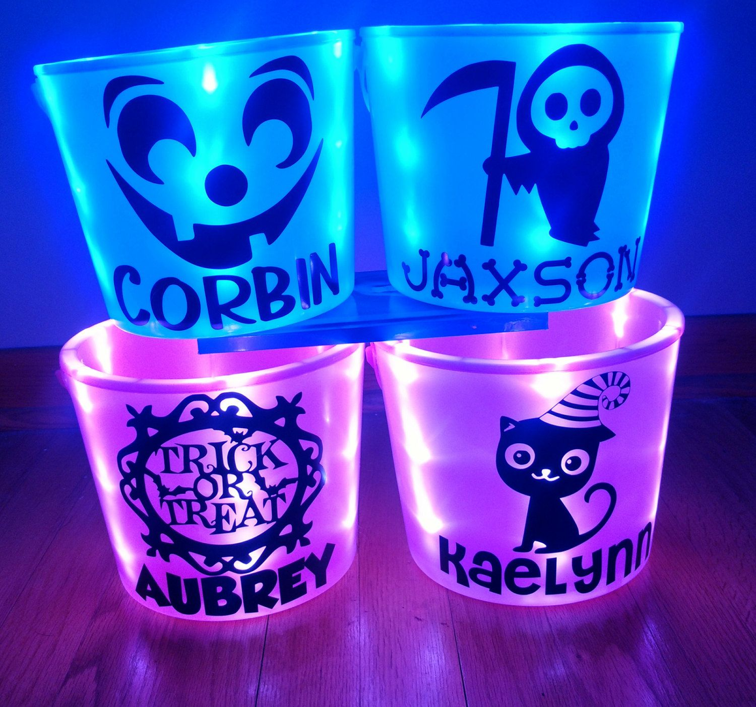 Personalized LED Light Up Halloween Bucket by AweBeeDesigns on ...