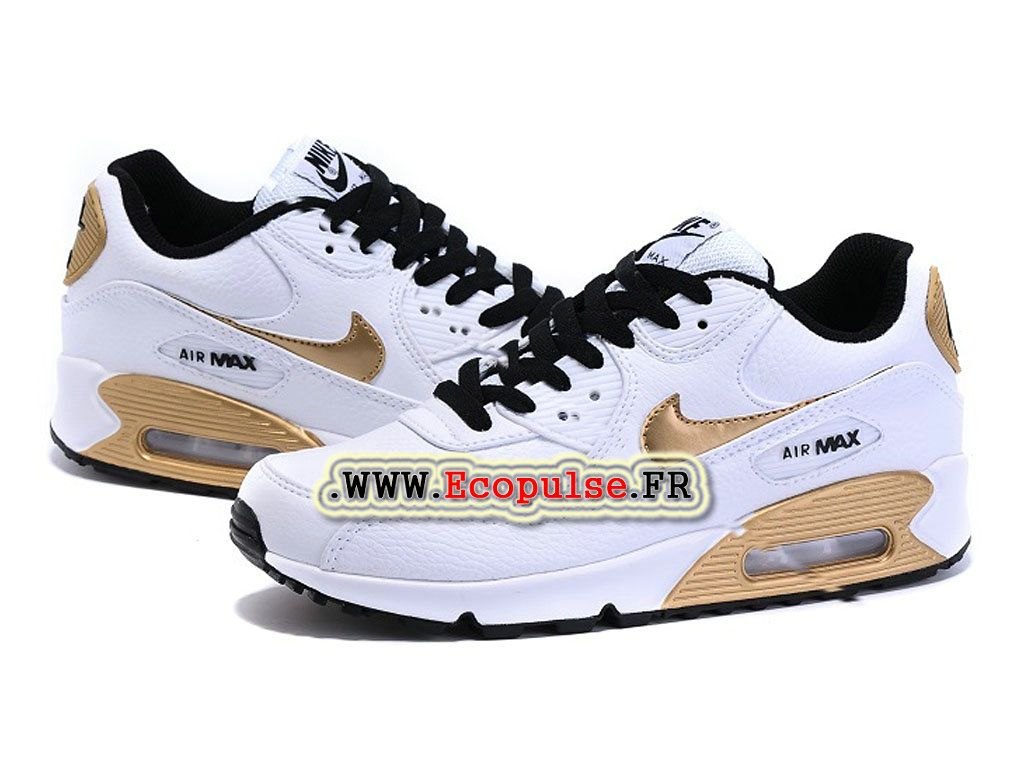 size 40 5c30a c6537 Nike Air Max 90 Chaussures Nike Sportswear Pas Cher Pour Femme Blanc   or  693628-