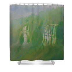 Symonds Yat In Turquoise Shower Curtain By Simon Knott Turquoise