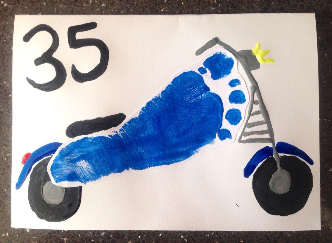Motorbike Footprint birthday card for Daddy Craft – Motorbike Birthday Cards