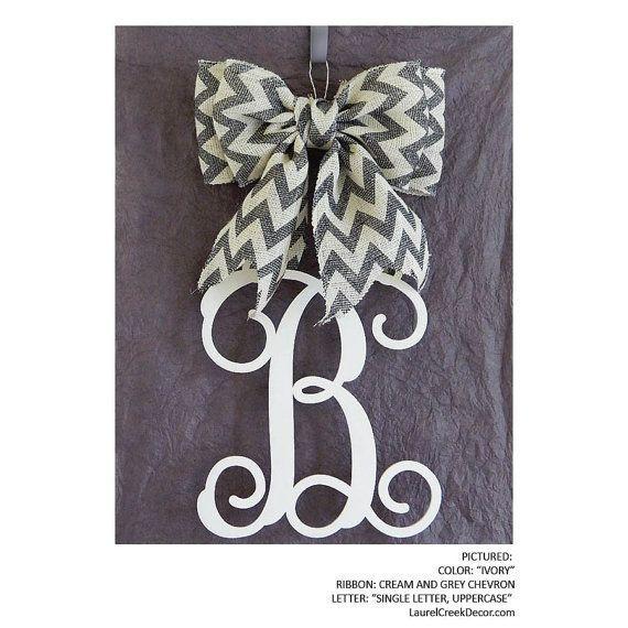 Monogram Door Hanger with Wooden Initials in Script Letters with Chevron Burlap Bow - Great for Front Door Decor and Wall Hanging  sc 1 st  Pinterest & Wooden Letters with Burlap Bow | Hanger with Wooden Initials in ...